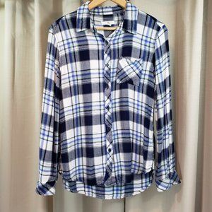 BLL NY Soft Blue & White Plaid Button Down Shirt